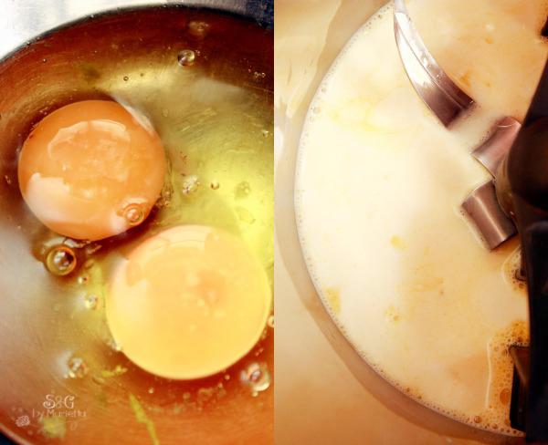 Huevos y leche mezclados